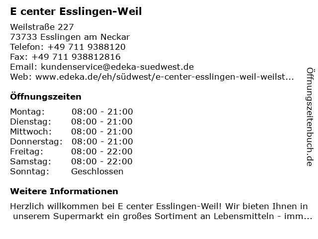 EDEKA center Esslingen-Weil in Esslingen am Neckar: Adresse und Öffnungszeiten