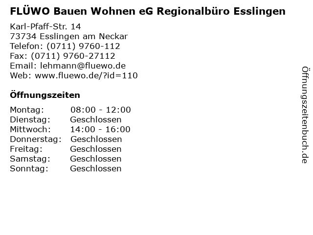 FLÜWO Bauen Wohnen eG Regionalbüro Esslingen in Esslingen am Neckar: Adresse und Öffnungszeiten