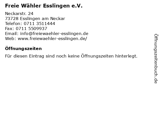 Freie Wähler Esslingen e.V. in Esslingen am Neckar: Adresse und Öffnungszeiten