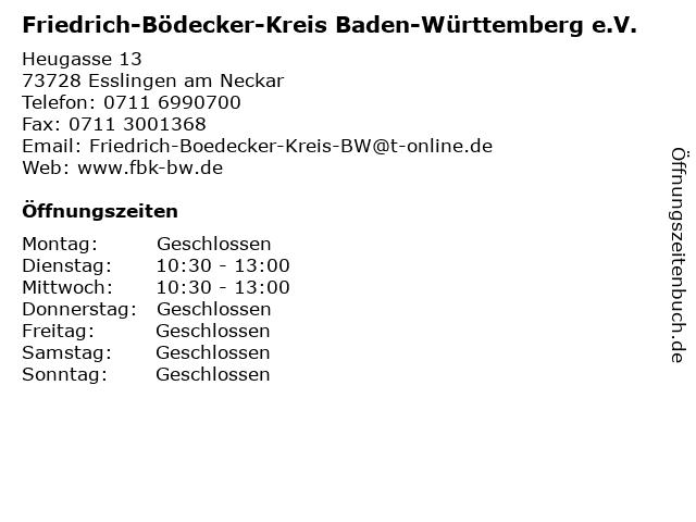 Friedrich-Bödecker-Kreis Baden-Württemberg e.V. in Esslingen am Neckar: Adresse und Öffnungszeiten