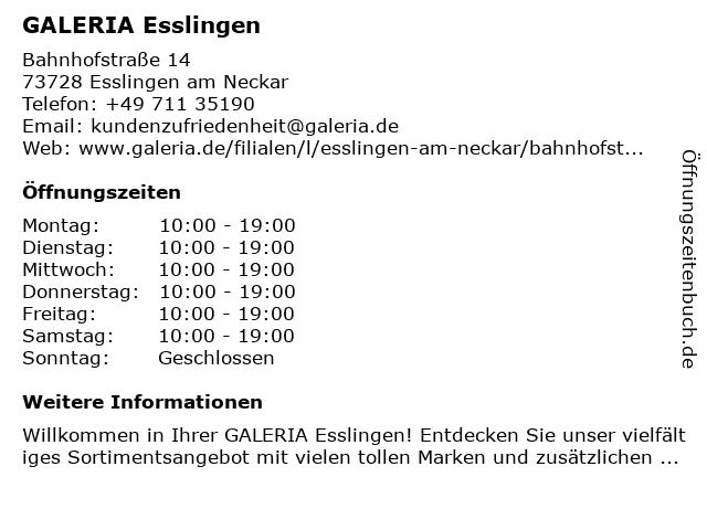 Karstadt Esslingen in Esslingen: Adresse und Öffnungszeiten