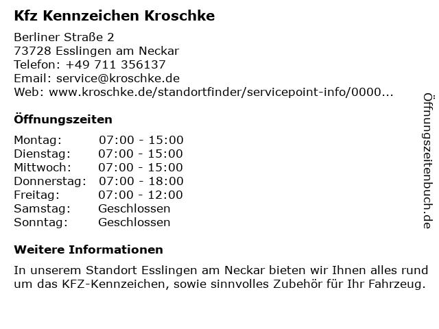 Kfz Zulassungen und Kennzeichen Kroschke in Esslingen am Neckar: Adresse und Öffnungszeiten