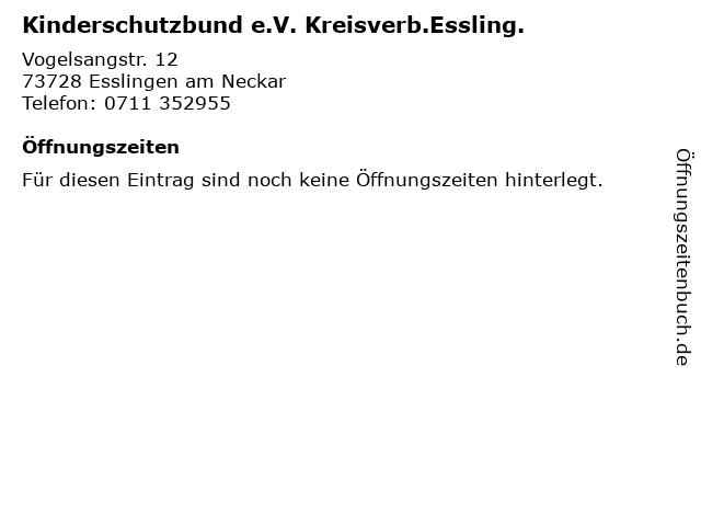Kinderschutzbund e.V. Kreisverb.Essling. in Esslingen am Neckar: Adresse und Öffnungszeiten