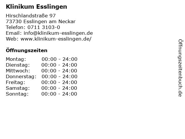 Klinikum Esslingen in Esslingen am Neckar: Adresse und Öffnungszeiten