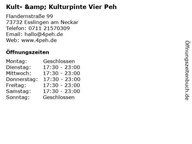 Kult- & Kulturpinte Vier Peh in Esslingen am Neckar: Adresse und Öffnungszeiten
