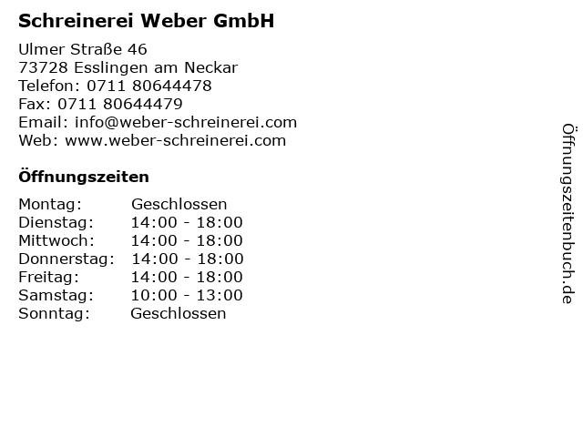 ᐅ Offnungszeiten Schreinerei Weber Gmbh Ulmer Strasse 46