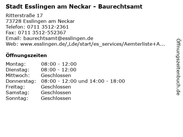 Stadt Esslingen am Neckar - Baurechtsamt in Esslingen am Neckar: Adresse und Öffnungszeiten