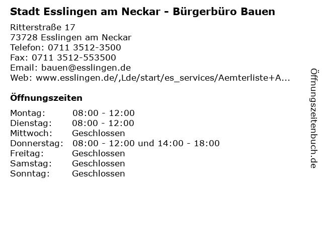 Stadt Esslingen am Neckar - Bürgerbüro Bauen in Esslingen am Neckar: Adresse und Öffnungszeiten
