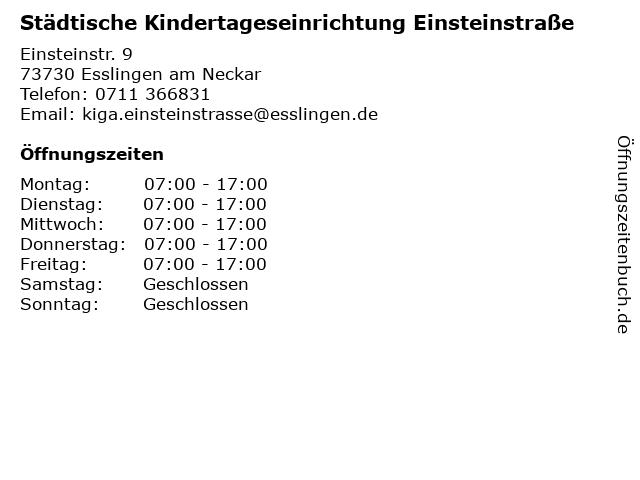 Städtische Kindertageseinrichtung Einsteinstraße in Esslingen am Neckar: Adresse und Öffnungszeiten