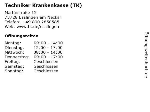Techniker Krankenkasse Kundenzentrum in Esslingen: Adresse und Öffnungszeiten