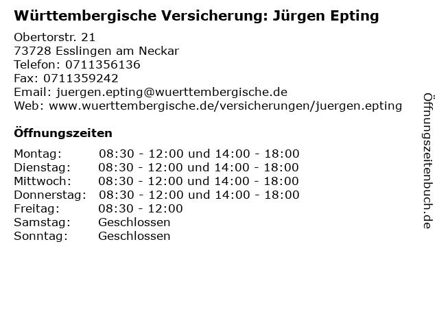 """718573de4f13 ᐅ Öffnungszeiten """"Württembergische Versicherung: Jürgen Epting ..."""