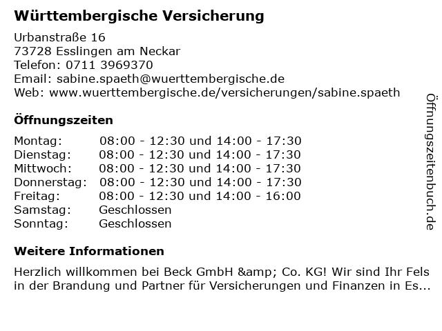 """662994838f11 ᐅ Öffnungszeiten """"Württembergische Versicherung: Beck GmbH & Co. KG ..."""