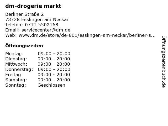 dm-drogerie markt GmbH + Co. KG in Esslingen: Adresse und Öffnungszeiten