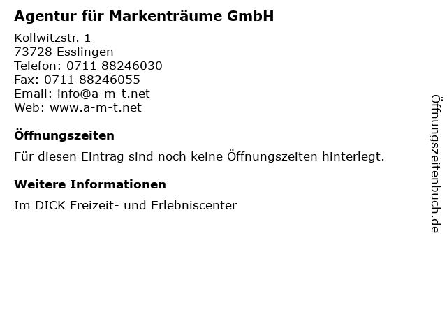 ᐅ Offnungszeiten Agentur Fur Markentraume Gmbh Kollwitzstr 1