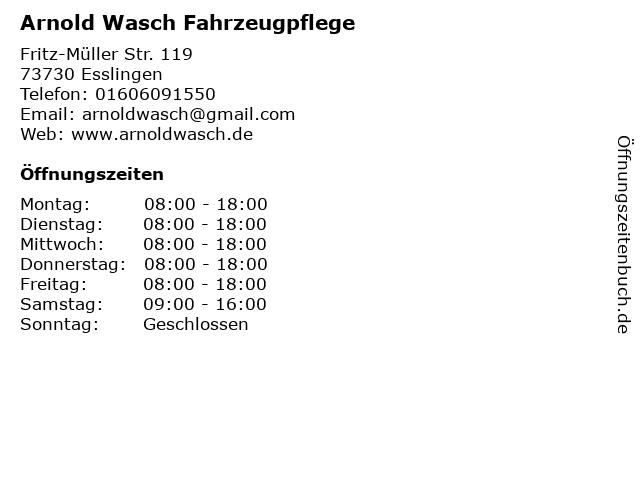 Arnold Wasch Fahrzeugpflege in Esslingen: Adresse und Öffnungszeiten