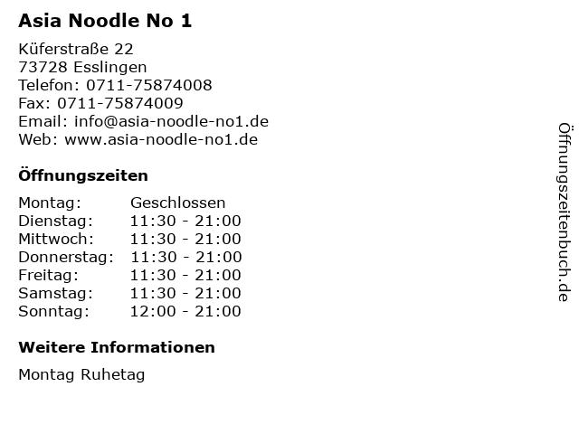 Asia Noodle No 1 in Esslingen: Adresse und Öffnungszeiten