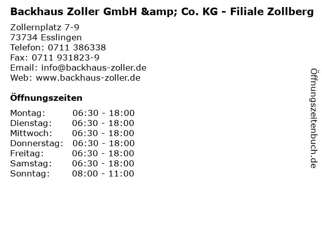 Backhaus Zoller GmbH & Co. KG - Filiale Zollberg in Esslingen: Adresse und Öffnungszeiten