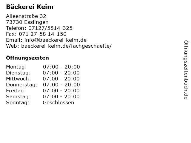 Bäckerei Keim in Esslingen: Adresse und Öffnungszeiten