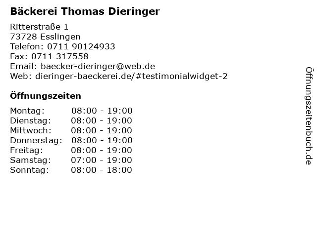 Bäckerei Thomas Dieringer in Esslingen: Adresse und Öffnungszeiten