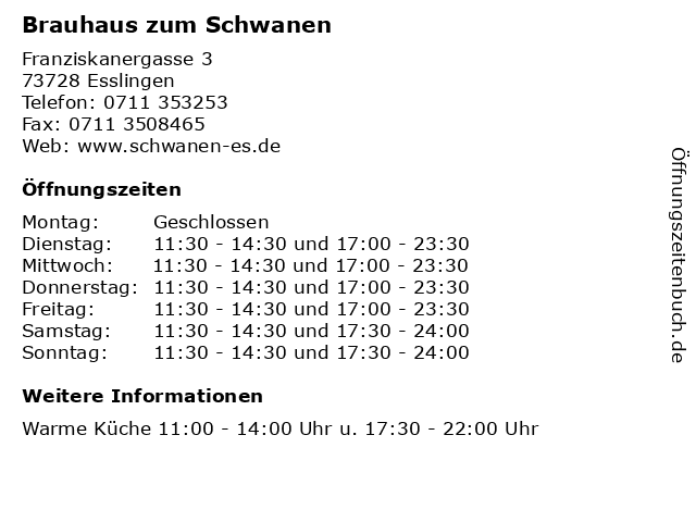 Brauhaus zum Schwanen in Esslingen: Adresse und Öffnungszeiten