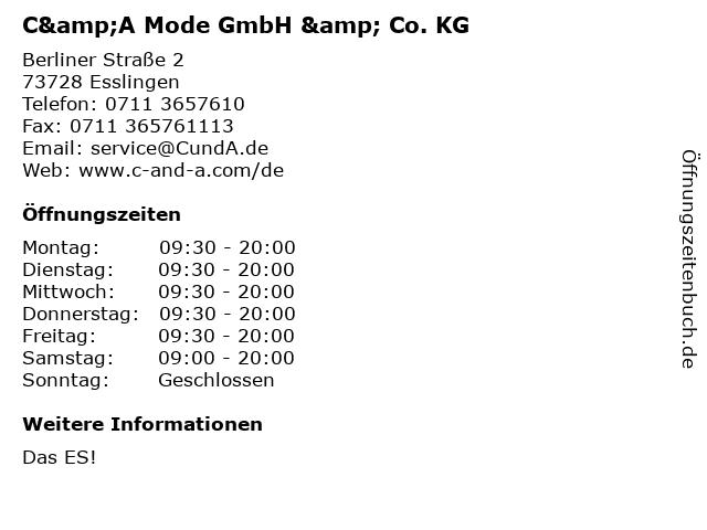 C&A Mode GmbH & Co. KG in Esslingen: Adresse und Öffnungszeiten