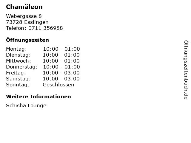 Chamäleon in Esslingen: Adresse und Öffnungszeiten