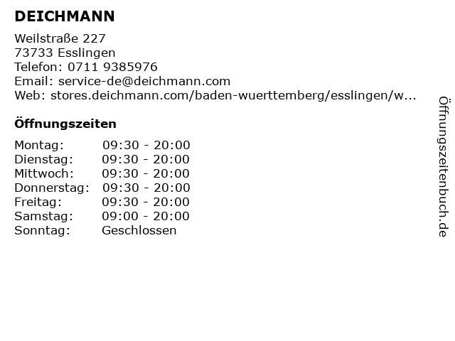 Deichmann Schuhe in Esslingen: Adresse und Öffnungszeiten