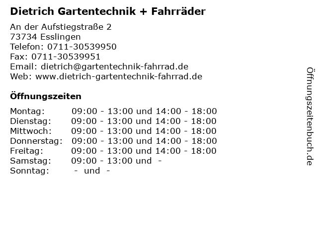 Dietrich Gartentechnik + Fahrräder in Esslingen: Adresse und Öffnungszeiten