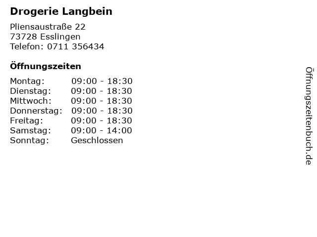 Drogerie Langbein in Esslingen: Adresse und Öffnungszeiten