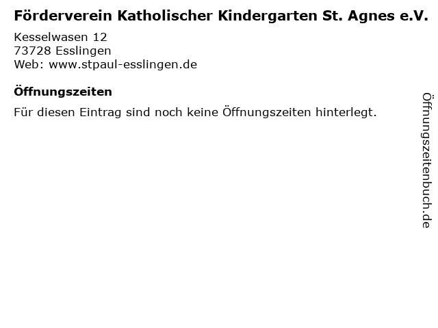 Förderverein Katholischer Kindergarten St. Agnes e.V. in Esslingen: Adresse und Öffnungszeiten
