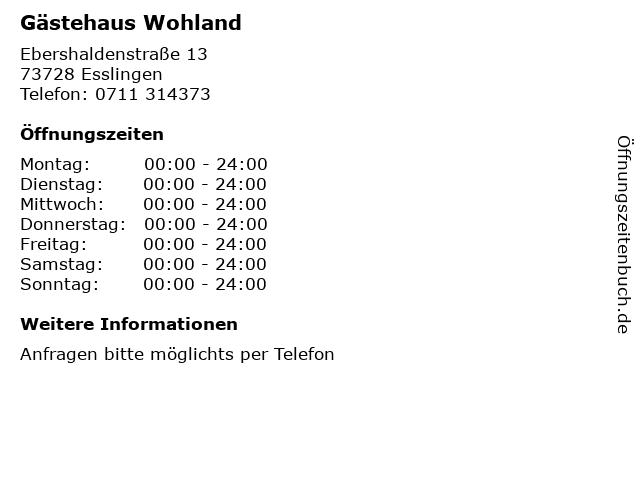 Gästehaus Wohland in Esslingen: Adresse und Öffnungszeiten