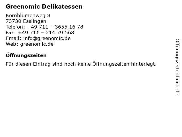 Greenomic Delikatessen in Esslingen: Adresse und Öffnungszeiten