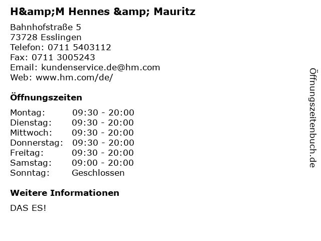 H&M Hennes & Mauritz in Esslingen: Adresse und Öffnungszeiten