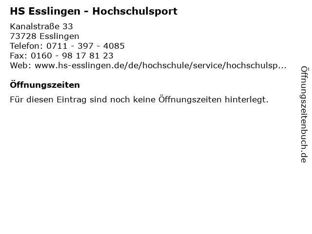 HS Esslingen - Hochschulsport in Esslingen: Adresse und Öffnungszeiten