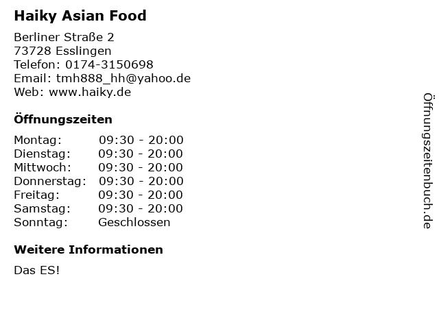 Haiky Asian Food in Esslingen: Adresse und Öffnungszeiten