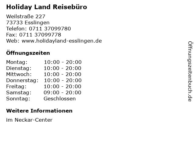 Holiday Land Reisebüro in Esslingen: Adresse und Öffnungszeiten