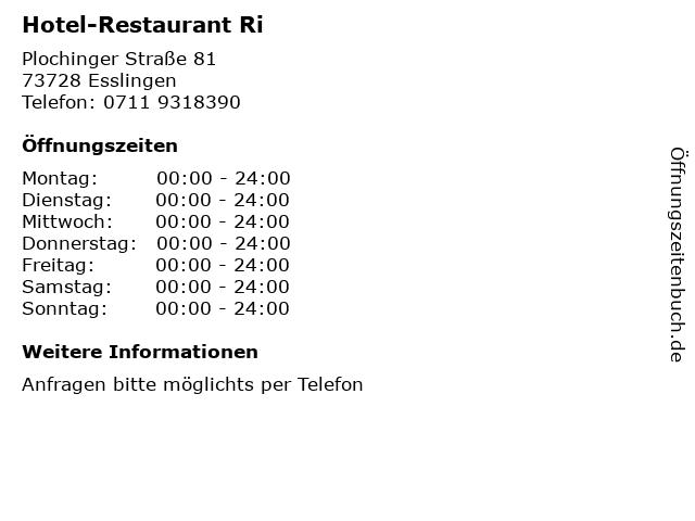 Hotel-Restaurant Ri in Esslingen: Adresse und Öffnungszeiten