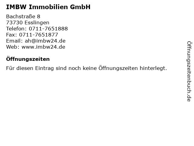 IMBW Immobilien GmbH in Esslingen: Adresse und Öffnungszeiten