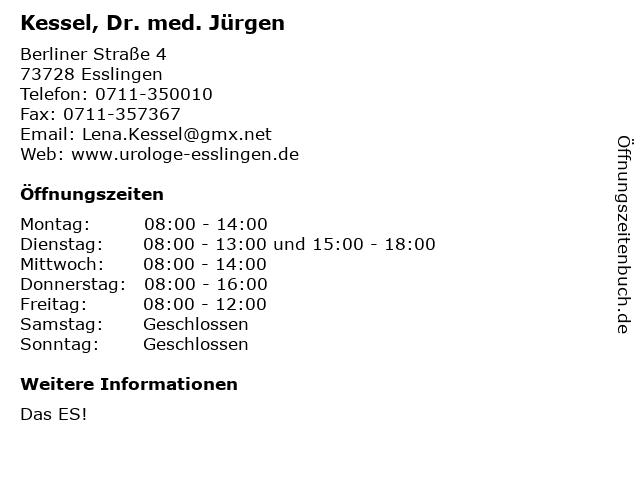 Kessel, Dr. med. Jürgen in Esslingen: Adresse und Öffnungszeiten