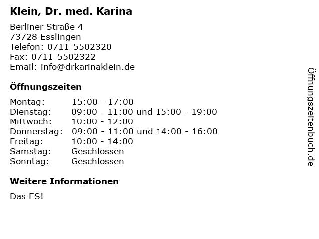 Klein, Dr. med. Karina in Esslingen: Adresse und Öffnungszeiten