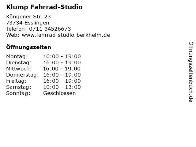 Klump Fahrrad-Studio in Esslingen: Adresse und Öffnungszeiten