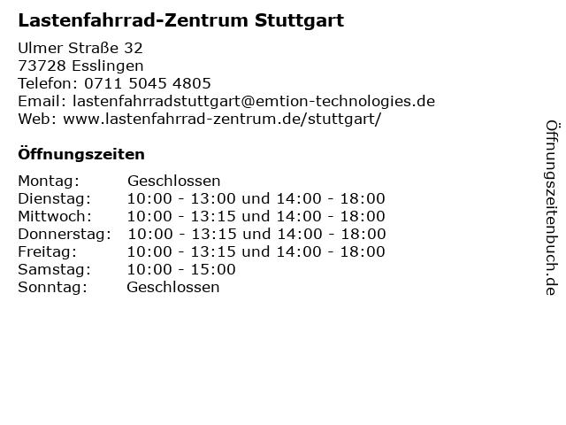 Lastenfahrrad-Zentrum Stuttgart in Esslingen: Adresse und Öffnungszeiten