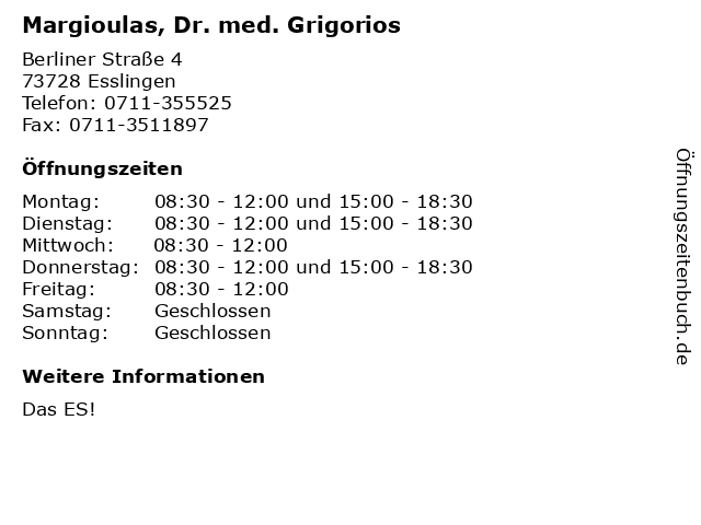 Margioulas, Dr. med. Grigorios in Esslingen: Adresse und Öffnungszeiten