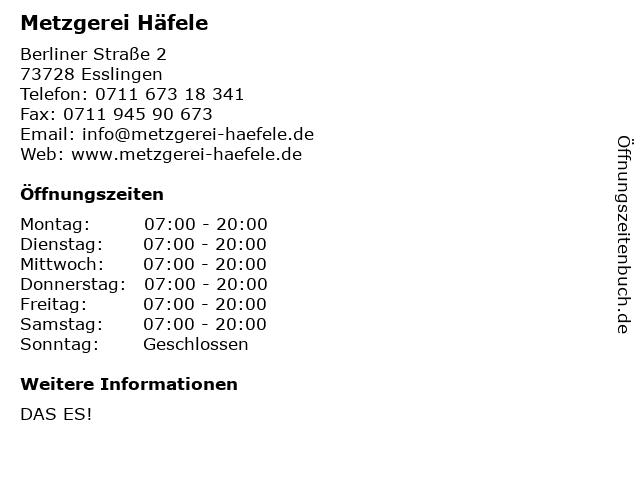 Metzgerei Häfele in Esslingen: Adresse und Öffnungszeiten