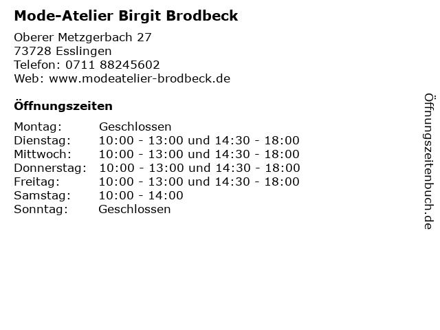 Mode-Atelier Birgit Brodbeck in Esslingen: Adresse und Öffnungszeiten