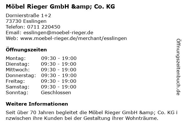 ᐅ öffnungszeiten Möbel Rieger Gmbh Dornierstraße 1 2 In Esslingen