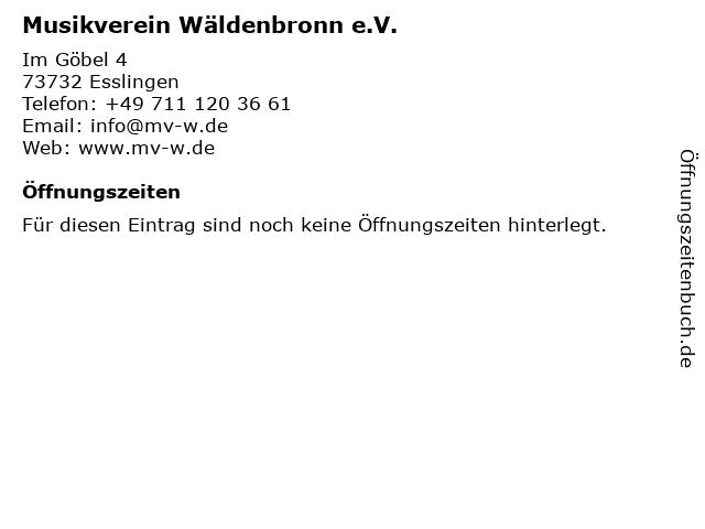 Musikverein Wäldenbronn e.V. in Esslingen: Adresse und Öffnungszeiten