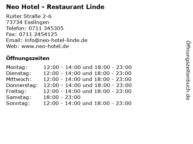 Neo Hotel - Restaurant Linde in Esslingen: Adresse und Öffnungszeiten
