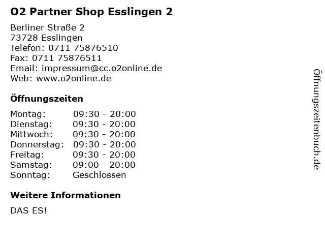 O2 Partner Shop Esslingen 2 in Esslingen: Adresse und Öffnungszeiten