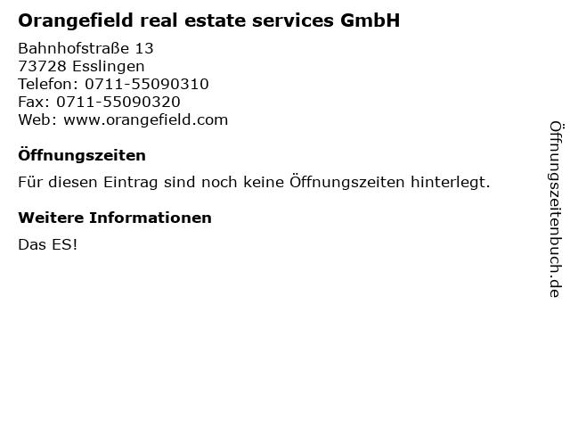 Orangefield real estate services GmbH in Esslingen: Adresse und Öffnungszeiten